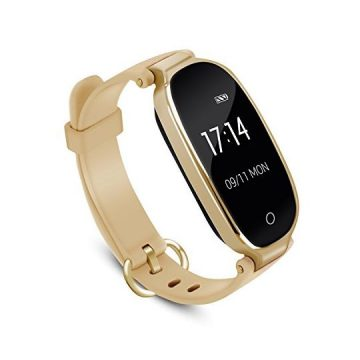 AGPTEK Lady Fitness TrackerSmartwatch Activity Tracker Heart Rate Monitor Smart Bracelet Waterproof IP67 Bluetooth Pedometer Wristband with Sleep Monitor for Android&IOS Gold