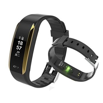 Fitness Tracker KINGBERWI Heart Rate Monitor Activity Tracker IP67 Waterproof Smart Bracelet Bluetooth Wristband Blood Pressure Watch with Sleep Monitor for Kids Girls Men Android iPhone