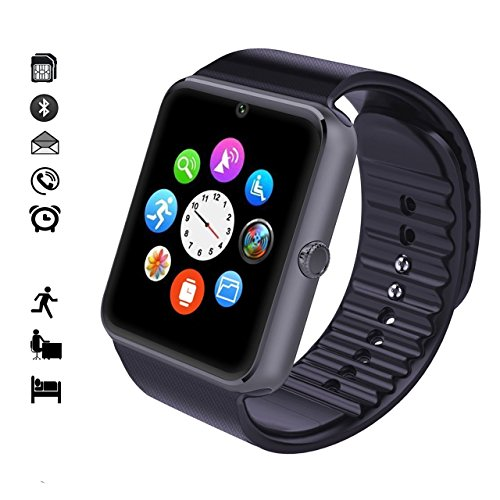 Smart WatchWingtech Bluetooth Watch Wristwatch Phone with SIM Card Slot Touch Screen Camera Compatible for iPhone 6s 6 Plus 5s 5c 4