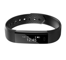 Smart BraceletREDGO Bluetooth Pedometer Bracelet Fitness Tracker with Touch Screen Calorie Distance Step Count Sleep Monitor Sports Activity Tracker for Men Women Boys Girls Ladies Man Black