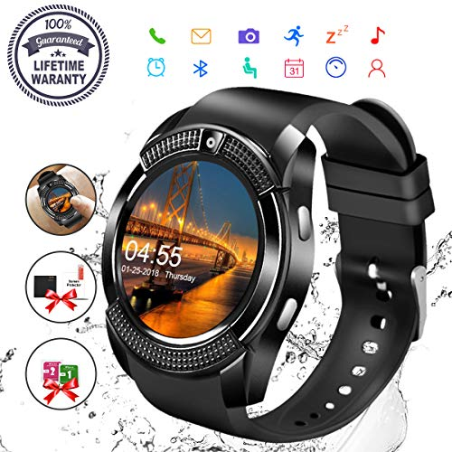 Smart WatchBluetooth Smartwatch Touch Screen Wrist Watch with Camera SIM Card SlotWaterproof Phone Smart Watch Sports Fitness Tracker Compatible Android Phone iOS Phones for Men Women Kids