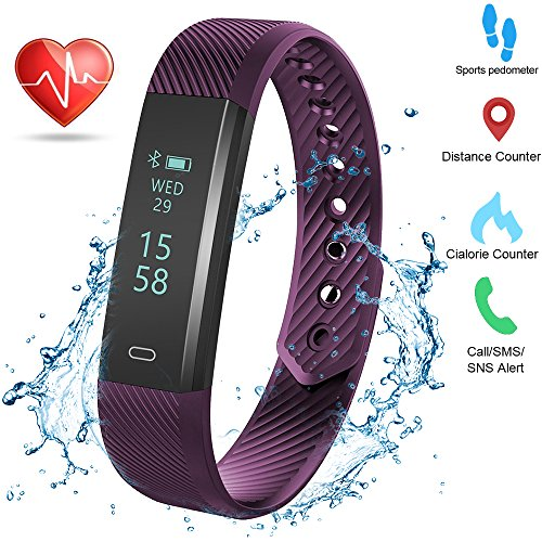 Weton Fitness Activity Tracker with Heart Rate Monitor Bluetooth 40 Waterproof Smart Bracelet Wristband Pedometer with Sleep Monitor Calorie Counter Step Tracker for Android and All Smartphones