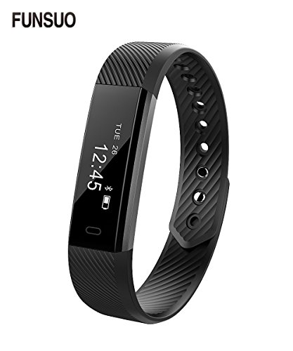 Fitness Tracker FUNSUO ID115 Activity Wristband Bluetooth Wireless Smart Bracelet Waterproof Pedometer Activity Tracker Watch for IOS&Android Smartphone