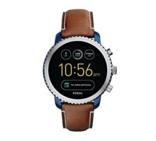 Fossil Q Men Gen 3 Explorist Stainless Steel and Leather Smartwatch Color Blue Brown