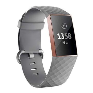 iGK Replacement Bands Compatible for Fitbit Charge 3 and Charge 3 SE Fitness Activity Tracker Adjustable Replacement Sport Strap for Women Men Grey Large