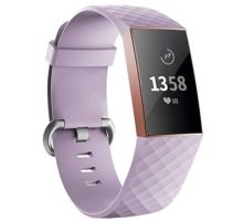 iGK Replacement Bands Compatible for Fitbit Charge 3 and Charge 3 SE Fitness Activity Tracker Adjustable Replacement Sport Strap for Women Men Lavender Large