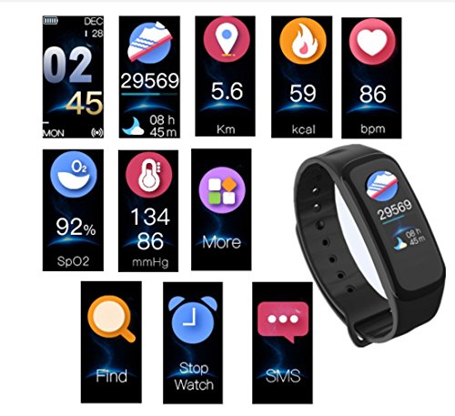 Silverzone Smart Bracelet Bluetooth Blood Pressure Heart Rate Sleep Monitors Watch Waterproof Activity Fitness Tracker Pedometer Wristband Smartband for Android iOS