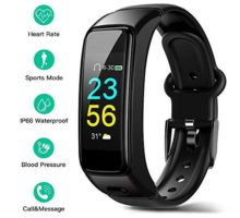 DEMAI Fitness Tracker HR IP68 WaterResistant Smart Sports Bracelet with Bluetooth HeadsetHeart Rate Monitor Sleep Step Counter Intelligent Activity Tracker Pedometer Watch for Android& iOS
