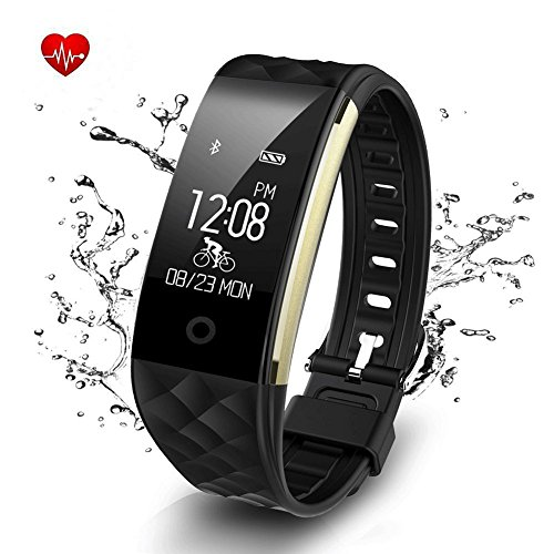 Fitness TrackerBluetooth Activity WristbandSmart Bracelet with Sleep Quality MonitorIP67 Waterproof Pedometer Samrt Watch with Heart Rate Monitor for iOS and Android(Black)