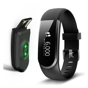 Sizet Fitness Tracker Heart Rate Monitor Smart Bracelet Activity Tracker Fitness Health Smart watch Wristband Bluetooth Pedometer Alarm Clock Remind Remote Take Photo for Android iOS Smart Phones