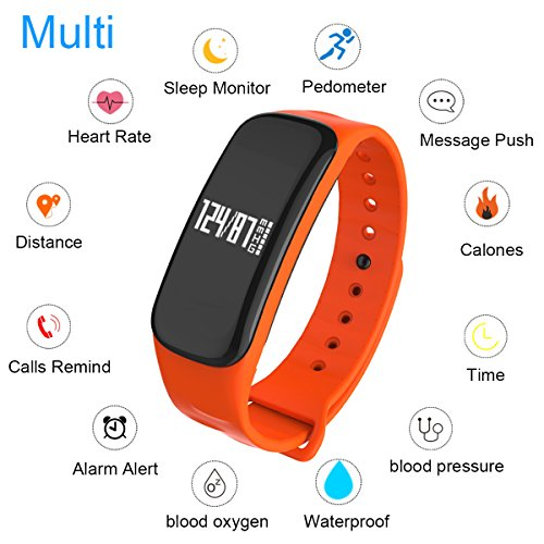 WearPai Fitness Tracker Smart Bracelet Bluetooth Wireless Sleep Monitor Waterproof Wristband Pedometer Call Remind for IOS & Android Smartphone