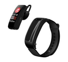 Aland Bluetooth Smart Bracelet Headphone Wristband for Huawei TalkBand B5 Wrist Strap Bluetooth Smart Bracelet Bluetooth Headset 2in1 Fitness Sport Compatible Smartphone Black Silicone