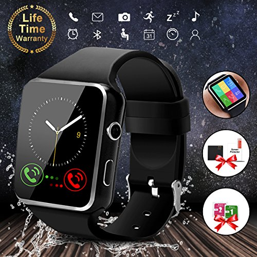 Smart WatchBluetooth Smartwatch Touch Screen Wrist Watch with Camera SIM Card SlotWaterproof Smart Watch Sports Fitness Tracker Compatible with Android iOS Phones Samsung Huawei Black