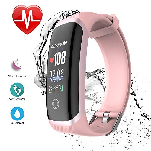 AIBODINI Fitness Tracker Activity Tracker Heart Rate Sleep Monitor Smart Bracelet with Pedometer Call SMS SNS Reminder Bluetooth IP67 Waterproof for Adult Kids iOS Android Phone