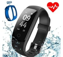 Aneken Fitness Tracker Activity Tracker with Heart Rate Monitor IP67 Bluetooth Smart Bracelet with Pedometer Sleep Monitor Watch with Replacement Strap for Android iOS Smartphone Black