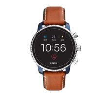 Fossil Men Gen 4 Explorist HR Stainless Steel and Leather Touchscreen Smartwatch Color Blue Brown