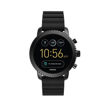 Fossil Q Men Gen 3 Explorist Stainless Steel and Silicone Smartwatch Color Black