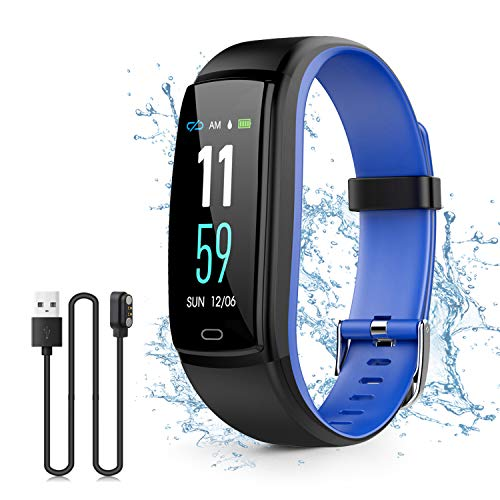 Kirlor Fitness Tracker Waterproof Color Screen Smart Bracelet with Heart Rate Blood Pressure MonitorSmart Watch Pedometer Activity Tracker Bluetooth for Android & iOS