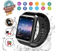 Smart WatchBluetooth Smartwatch Touch Screen Wrist Watch with Camera SIM Card SlotWaterproof Phone Smart Watch Sports Fitness Tracker Compatible Android Phones Black
