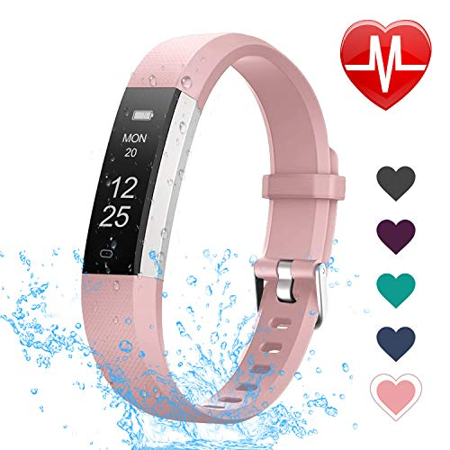 LETSCOM Fitness Tracker with Heart Rate Monitor Slim and Smart Activity Tracker Watch with Sleep Monitor Step Counter and Calorie Counter IP67 Waterproof Pedometer Watch for Kids Women Men