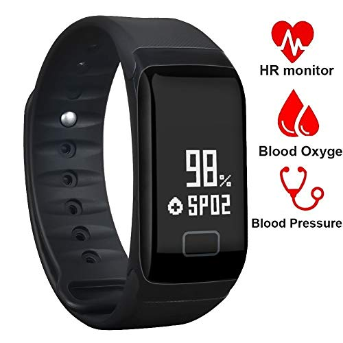 BONNIEWAN Fitness TrackerWaterproof Activity Tracker with Heart Rate Blood Pressure Blood Oxygen MonitorSmart Wristband with Pedometer Watch Calorie Counter Sleep Monitor Bluetooth Bracelet