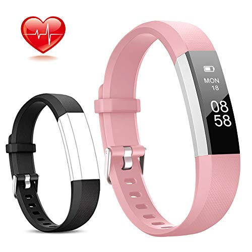 Lintelek Fitness Tracker Slim Activity Tracker with Heart Rate Monitor IP67 Waterproof Step Counter Calorie Counter Pedometer for Kids Women and Men