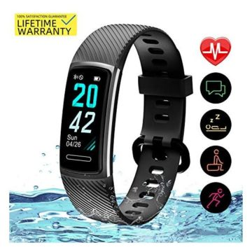 Yemo Updated 2019 Version Fitness Tracker HR Activity Trackers Health Exercise Watch with Heart Rate and Sleep Monitor Smart Band Calorie Counter Step Counter Pedometer Walking