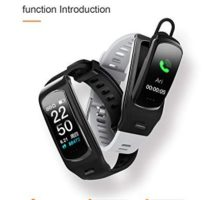 PGTC Fitness Sport Smartwatch Bluetooth Headset with Heart Rate Monitor Blood Pressure Test IP68 Water Resistant Smart Talkband Calorie Counter Pedometer Watch for Android and iPhone
