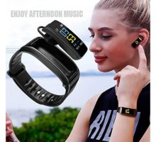 Wgch Smart Bracelet Waterproof Smart Watch Wristband 2 in 1 Smart Bracelet Band with Bluetooth Earbuds Heart Rate Monitor for Men Women