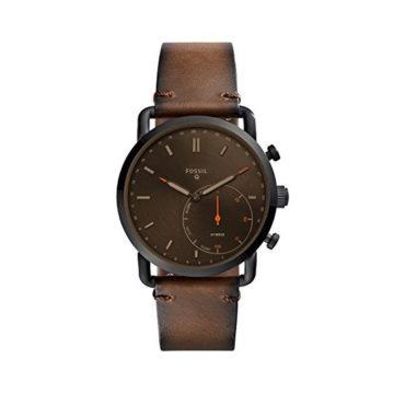 Fossil Men Commuter Stainless Steel and Leather Hybrid Smartwatch Color Black Brown