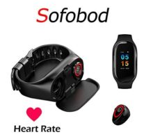 Sofobod Smart Bracelet with Earpads Smart Bracelet Wristband with Earphone with Heart Rate Monitor Bluetooth 50  Black