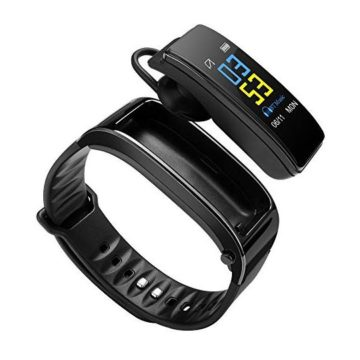 OMei Stars Talkband Bluetooth Fitness Tracker Smart Bracelet with Calling Audio Player Headphones Heart Rate Calories Step Pedometer Distance