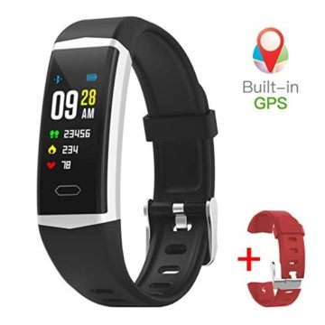 gandley Fitness Tracker with GPS Builtin for Men with Blood Pressure Monitor IP68 Waterproof Smart Bracelet for Women Kids + Free Wristband