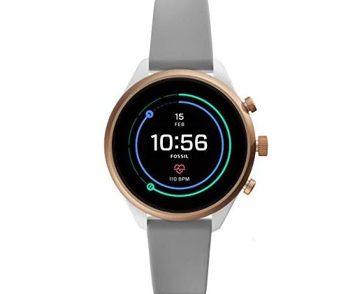 Fossil Women Gen 4 Sport Heart Rate Metal and Silicone Touchscreen Smartwatch Color Rose Gold Grey