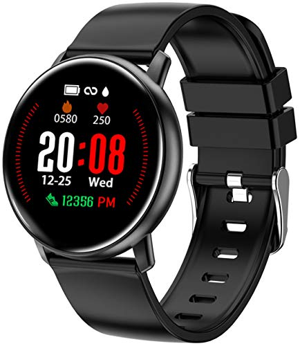 Smart Watch for Android iOS Phones Sport Fitness Tracker Pedometer Watch with Heart Rate Monitor for Women Men and Kids Sleep Monitor Calorie Counter IP68 Waterproof Color Touch Screen Black